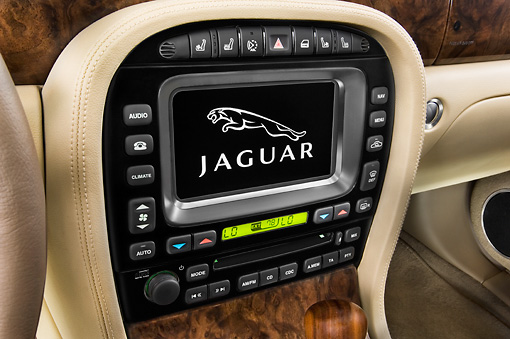 AUT 30 IZ0106 01 © Kimball Stock 2009 Jaguar XJ8L Blue Interior Detail Studio