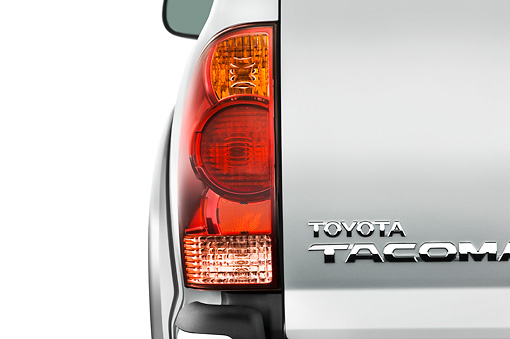 AUT 30 IZ0151 01 © Kimball Stock 2010 Toyota Tacoma Access Cab Pickup Truck Silver Brake Light Detail Studio