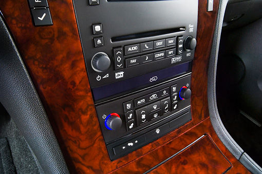 AUT 30 IZ0161 01 © Kimball Stock 2008 Cadillac Escalade EXT Pickup Truck Black Interior Detail Studio
