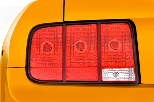 AUT 30 IZ0242 01 © Kimball Stock 2009 Ford Mustang Shelby GT Coupe Yellow Brake Light Detail Studio