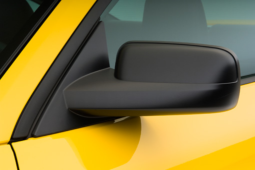AUT 30 IZ0246 01 © Kimball Stock 2008 Ford Mustang V6 Pony Coupe Yellow Side Mirror Detail Studio