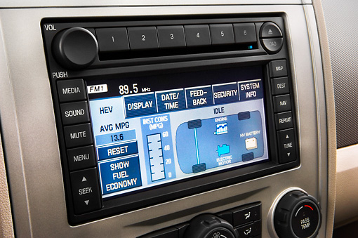 AUT 30 IZ0309 01 © Kimball Stock 2010 Ford Escape Hybrid Interior Detail Studio
