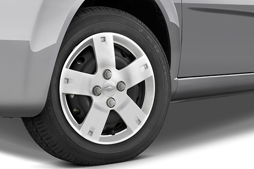 AUT 30 IZ0312 01 © Kimball Stock 2008 Chevrolet Aveo5 LS Gray Front Wheel Detail Studio
