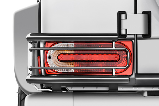AUT 30 IZ0350 01 © Kimball Stock 2010 Mercedes-Benz G55 AMG Silver Brake Light Detail Studio