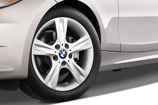AUT 30 IZ0426 01 © Kimball Stock 2011 BMW 135i Convertible Silver Front Wheel Detail Studio