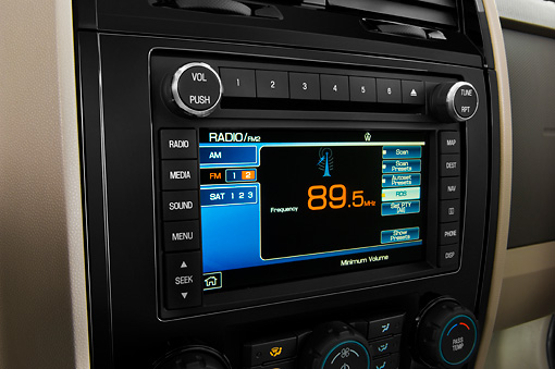 AUT 30 IZ0535 01 © Kimball Stock 2010 Ford Escape Hybrid Green Interior Detail Studio