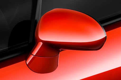 AUT 30 IZ0555 01 © Kimball Stock 2009 Mitsubishi Eclipse GT Spyder Red Side Mirror Detail Studio