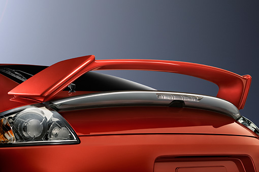 AUT 30 IZ0575 01 © Kimball Stock 2009 Mitsubishi Eclipse GS Coupe Red Spoiler Detail Studio
