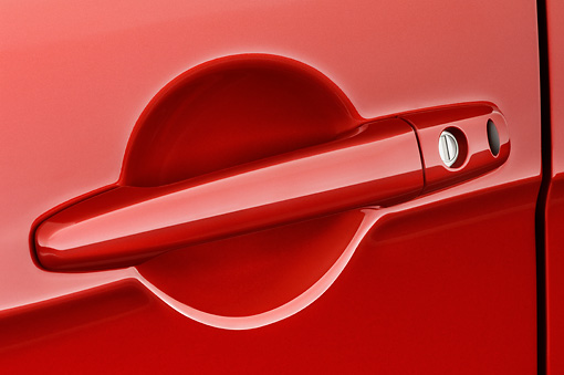 AUT 30 IZ0582 01 © Kimball Stock 2008 Mitsubishi Lancer Evolution Red Door Handle Detail Studio