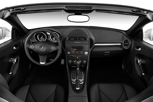 AUT 30 IZ0599 01 © Kimball Stock 2010 Mercedes-Benz SLK350 Roadster Silver Interior Detail Studio
