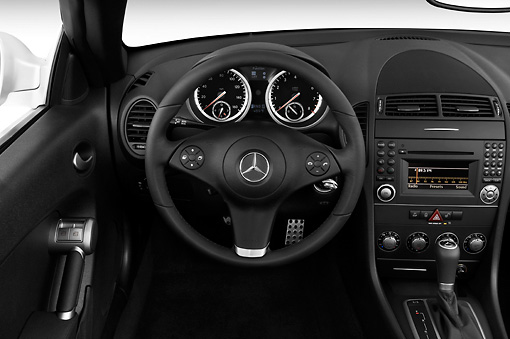 AUT 30 IZ0600 01 © Kimball Stock 2010 Mercedes-Benz SLK350 Roadster Silver Interior Detail Studio