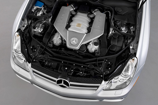 AUT 30 IZ0628 01 © Kimball Stock 2011 Mercedes-Benz CLS Class C63 Silver Engine Detail Studio