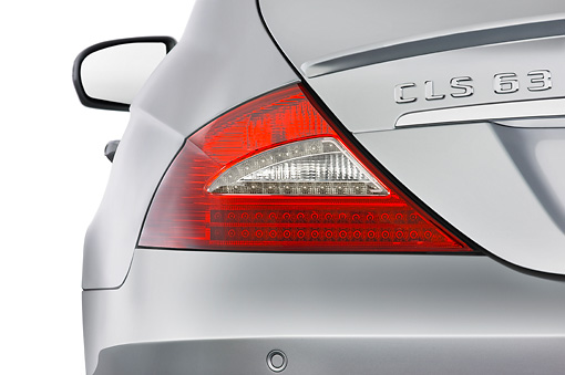 AUT 30 IZ0629 01 © Kimball Stock 2011 Mercedes-Benz CLS Class C63 Silver Brake Light Detail Studio