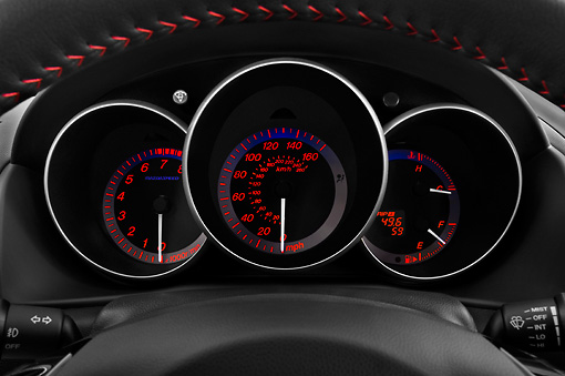 AUT 30 IZ0660 01 © Kimball Stock 2009 Mazdaspeed3 White Interior Detail Studio