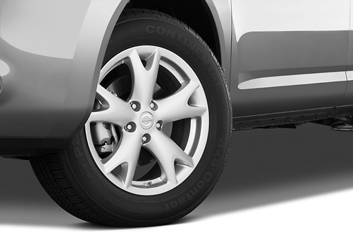 AUT 30 IZ0664 01 © Kimball Stock 2010 Nissan Rogue SL Gray Front Wheel Detail Studio