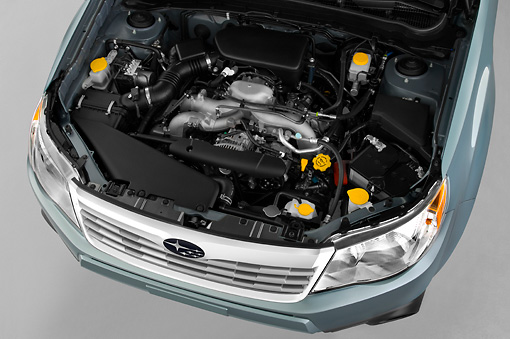 AUT 30 IZ0699 01 © Kimball Stock 2010 Subaru Forester PZEV Blue Engine Detail Studio