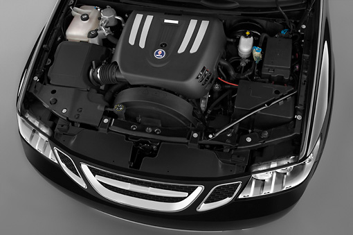 AUT 30 IZ0725 01 © Kimball Stock 2009 Saab 9-7X Aero Black Engine Detail Studio