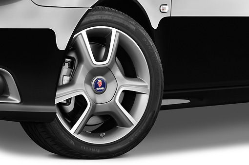 AUT 30 IZ0745 01 © Kimball Stock 2010 Saab 9-3 Turbo X Black Front Wheel Detail Studio