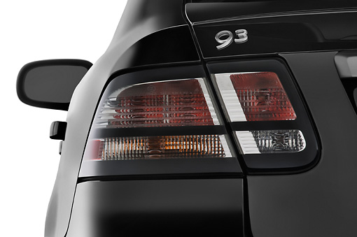 AUT 30 IZ0746 01 © Kimball Stock 2010 Saab 9-3 Turbo X Black Brake Light Detail Studio