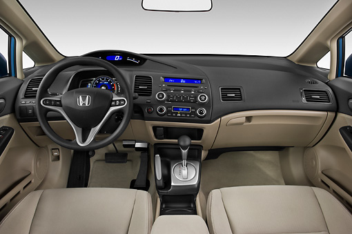 AUT 30 IZ0755 01 © Kimball Stock 2011 Honda Civic Hybrid Blue Interior Detail Studio