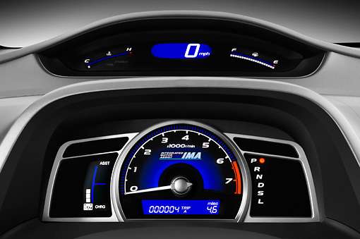 AUT 30 IZ0758 01 © Kimball Stock 2011 Honda Civic Hybrid Blue Interior Detail Studio