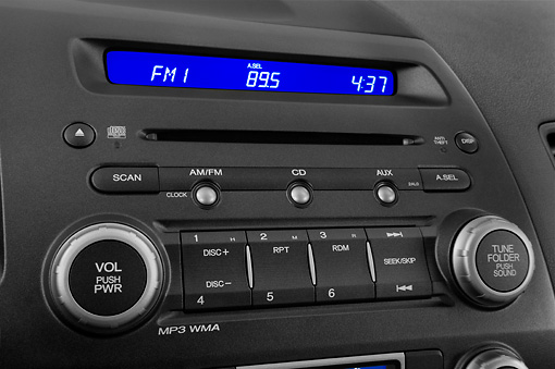 AUT 30 IZ0759 01 © Kimball Stock 2011 Honda Civic Hybrid Blue Interior Detail Studio