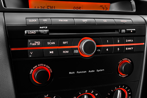 AUT 30 IZ0810 01 © Kimball Stock 2009 Mazda Mazda3 5-Door Sport White Interior Detail Studio