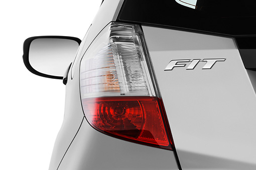 AUT 30 IZ0814 01 © Kimball Stock 2010 Honda Fit Sport Silver Brake Light Detail Studio