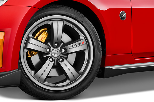 AUT 30 IZ0828 01 © Kimball Stock 2008 Nissan 350Z Nismo Red Front Wheel Detail Studio