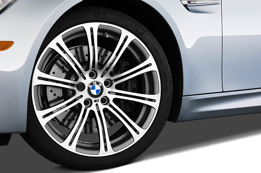 AUT 30 IZ0837 01 © Kimball Stock 2013 BMW M3 Convertible Silver Front Wheel Detail Studio