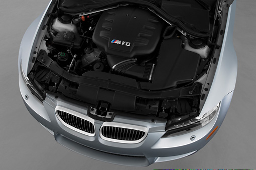 AUT 30 IZ0838 01 © Kimball Stock 2013 BMW M3 Convertible Silver Engine Detail Studio