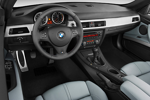 AUT 30 IZ0841 01 © Kimball Stock 2013 BMW M3 Convertible Silver Interior Detail Studio
