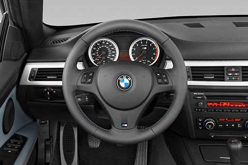 AUT 30 IZ0842 01 © Kimball Stock 2013 BMW M3 Convertible Silver Interior Detail Studio