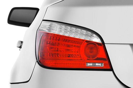 AUT 30 IZ0848 01 © Kimball Stock 2010 BMW 528i Silver Brake Light Detail Studio