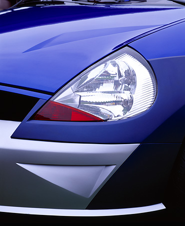 AUT 30 RK0008 08 © Kimball Stock Ford Saetta Ghia Blue Concept Car Detail Close Up Of Headlight
