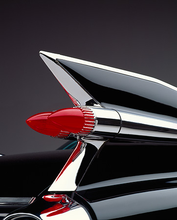 AUT 30 RK0021 02 © Kimball Stock 1959 Black Fleetwood 60 Special Cadillac Rear Tail Fin