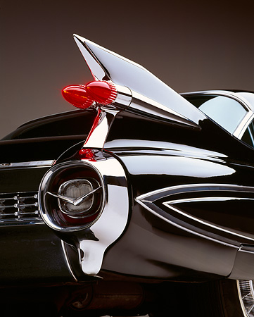 AUT 30 RK0024 09 © Kimball Stock 1959 Black Fleetwood 60 Special Cadillac Rear Tail Finn