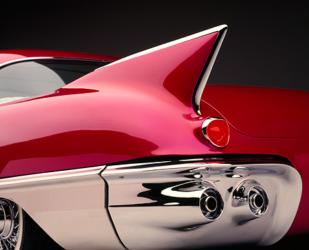 AUT 30 RK0063 02 © Kimball Stock 1957 Candy Raspberry Cadillac Eldorado Kustom Low Rear Showing Finn And Lights