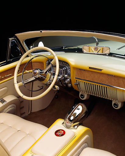 AUT 30 RK0072 08 © Kimball Stock 1953 Cadillac Eldorado Convertible Yellow Interior Detail