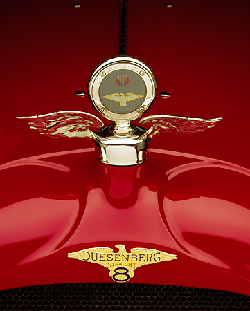 AUT 30 RK0085 08 © Kimball Stock Close Up Of A 1923 Red Duesenberg Touring Hood Ornament Studio