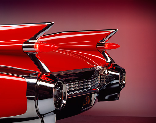 AUT 30 RK0109 09 © Kimball Stock 1959 Cadillac Eldorado Convertible Red Tail Fin Detail
