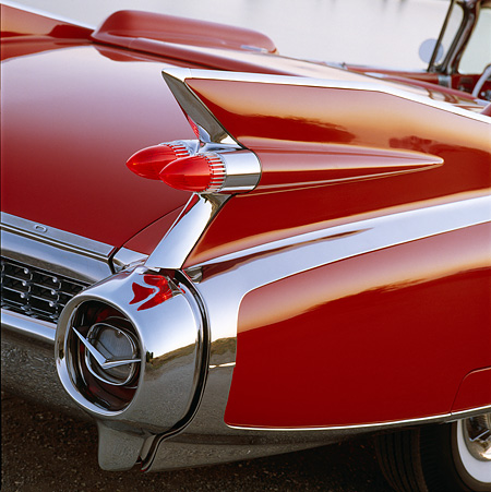 AUT 30 RK0111 07 © Kimball Stock 1959 Red Cadillac Eldorado Convertible Detail Rear Fin View On Pavement
