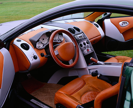 AUT 30 RK0135 05 © Kimball Stock Detail Interior Shot Of Front Driver Side Of An Aston Martin Vantage
