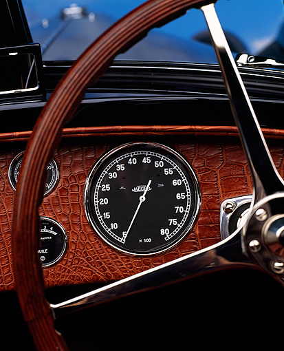 AUT 30 RK0159 02 © Kimball Stock Extreme Close Up Of 1938 Dark Blue Bugatti Type 57SC Of Steering Wheel And Front Panel