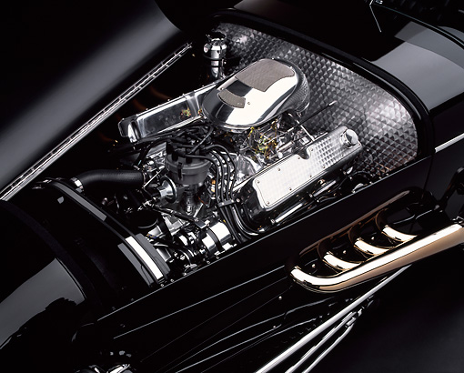 AUT 30 RK0177 03 © Kimball Stock 1999 Moal Special Roadster Black V-8 Ford SVO Engine Detail