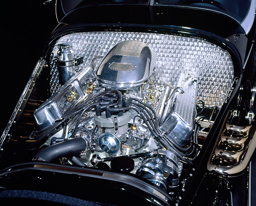AUT 30 RK0177 12 © Kimball Stock 1999 Moal Special Roadster Black V-8 Ford SVO Engine Detail