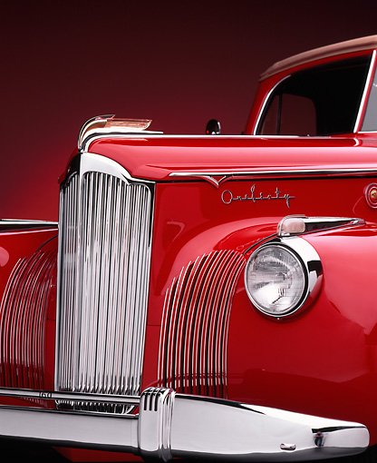 AUT 30 RK0228 07 © Kimball Stock 1941 Packard 160 Deluxe Convertible Coupe Red Front Detail Studio