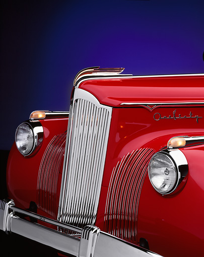 AUT 30 RK0231 02 © Kimball Stock 1941 Packard 160 Deluxe Coupe Convertible Red 3/4 Front Detail