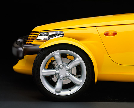 AUT 30 RK0240 05 © Kimball Stock 1999 Plymouth Prowler Yellow Front Profile Detail Studio