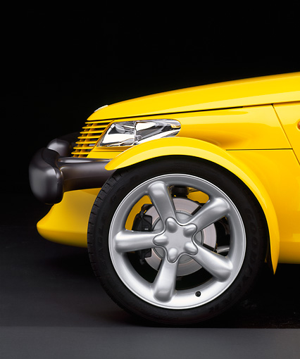 AUT 30 RK0240 12 © Kimball Stock 1999 Plymouth Prowler Yellow Front Profile Detail Studio